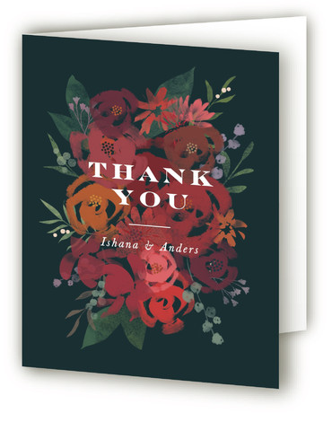 This is a botanical, blue Wedding Thank You Cards by Jennifer Wick called Midnight Garden with Standard printing on Standard Cover in Card fold over (blank inside) format. A hand painted bouquet of flowers in bright pinks, red, and oranges ...