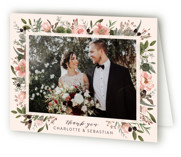 This is a pink wedding thank you card by Susan Moyal called Desert Blooms with standard printing on strathmore in standard.
