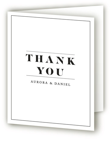This is a classic and formal, monogram, simple and minimalist, black and white Wedding Thank You Cards by Nazia Hyder called Prelude with Standard printing on Standard Cover in Card fold over (blank inside) format. Classic and type based design, ...