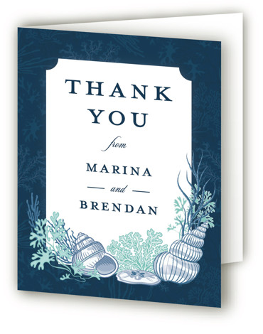 This is a botanical, blue Wedding Thank You Cards by Paper Sun Studio called Deep Blue with Standard printing on Standard Cover in Card fold over (blank inside) format. This aquatic ocean wedding invitation features various seashells, seaweed and coral ...