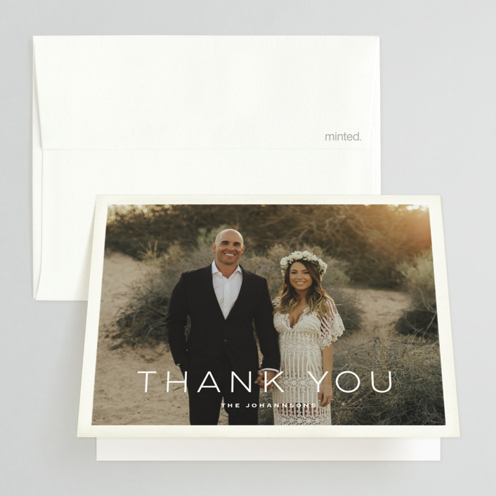 """Postcard from the Desert"" - Modern, Destination Folded Thank You Card in Sunset by Pink House Press."