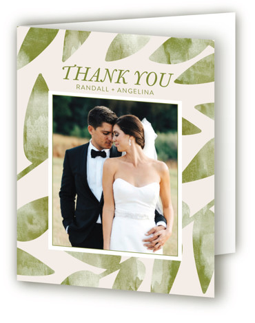This is a botanical, monogram, orange, green Wedding Thank You Cards by Johanna McShan called Watercolor Leaf with Standard printing on Standard Cover in Card fold over (blank inside) format. This wedding invitation features a watercolor leaf and simple, modern ...