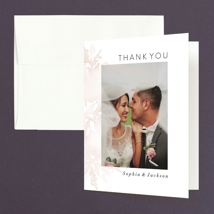 """""""Ethereal Bouquet"""" - Folded Thank You Card in Blush by Petra Kern."""