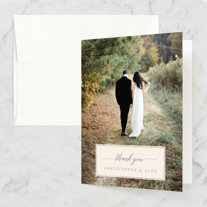 """""""Vintage Photo Frame"""" - Modern, Destination Thank You Cards in Puddle by Katharine Watson."""