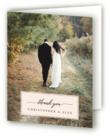 This is a destination, modern, painterly, black Wedding Thank You Cards by Katharine Watson called Vintage Photo Frame with Standard printing on Standard Cover in Card fold over (blank inside) format. This design uses a scenic photo of the venue ...