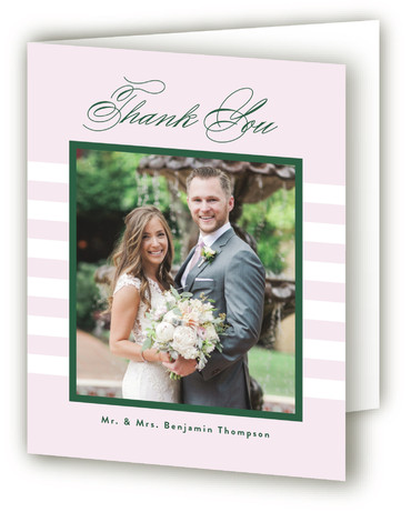 This is a classic and formal, simple and minimalist, green Wedding Thank You Cards by Wildbrook Press called You're My Type with Standard printing on Standard Cover in Card fold over (blank inside) format. A classic invite featuring a modern ...