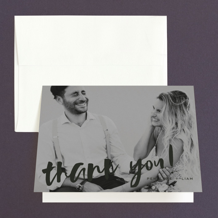 """Love Actually"" - Thank You Cards in Onyx by Design Lotus."
