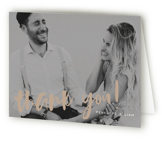 This is a bold and typographic, simple and minimalist, brown Wedding Thank You Cards by Design Lotus called Love Actually with Standard printing on Standard Cover in Card fold over (blank inside) format. Modern brush calligraphy type with fresh layout ...