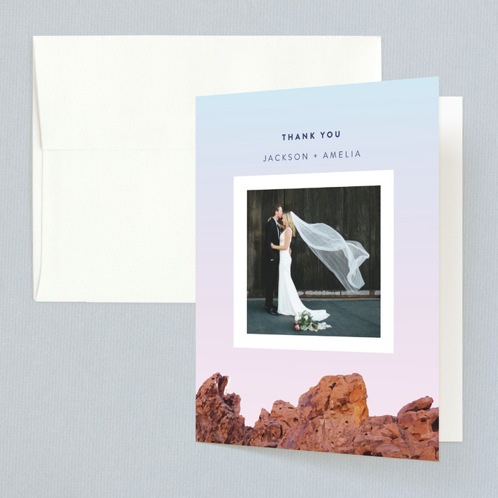 """Desert Rocks"" - Destination, Modern Thank You Cards in Sunset by Owl and Toad."