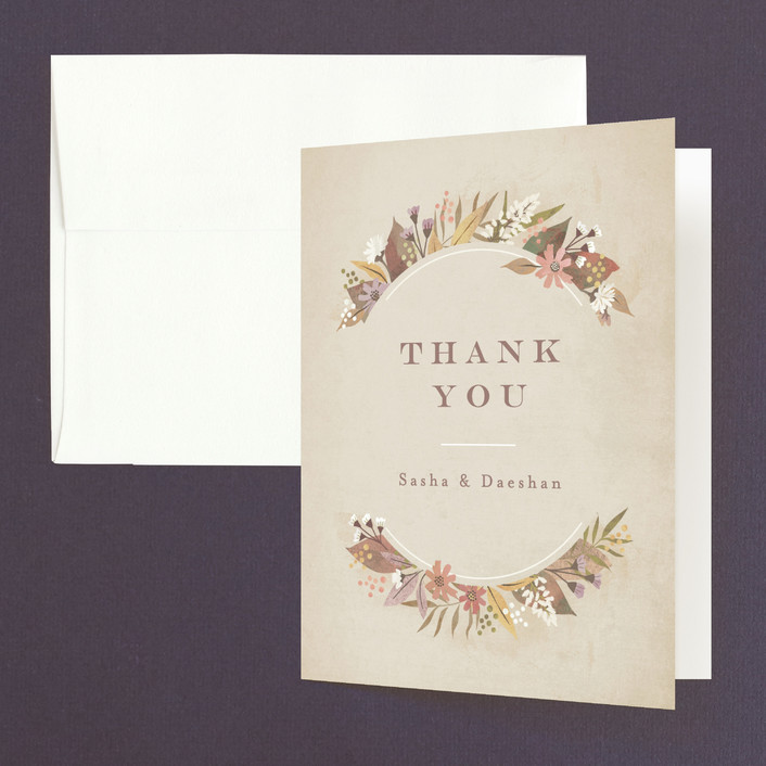 """""""turning leaves"""" - Thank You Cards in Champagne by Jennifer Wick."""