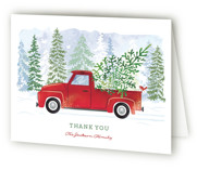 This is a red wedding thank you card by Paper Sun Studio called Dashing Through the Snow with standard printing on strathmore in standard.