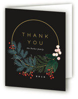 This is a black wedding thank you card by Alethea and Ruth called Modern Pine Wreath with standard printing on strathmore in standard.