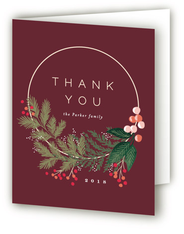 This is a red Wedding Thank You Cards by Alethea and Ruth called Modern Pine Wreath with Standard printing on Standard Cover in Card fold over (blank inside) format. This holiday card features a modern wreath with lush pine branches. ...