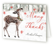 This is a red wedding thank you card by Cass Loh called Holiday Deer with standard printing on strathmore in standard.