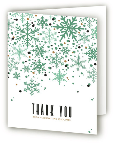 This is a green, classic colors Wedding Thank You Cards by Melissa Egan of Pistols called Sophisticated Snow with Standard printing on Standard Cover in Card fold over (blank inside) format. This classy color combination and timeless snowflake pattern is ...