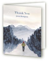 This is a blue wedding thank you card by Shannon called Peace of Quiet with standard printing on strathmore in standard.