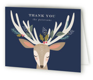 This is a blue wedding thank you card by Karidy Walker called holiday reindeer with standard printing on strathmore in standard.
