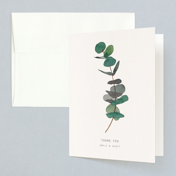 """eucalyptus"" - Folded Thank You Card in Evergreen by jinseikou."