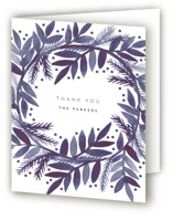 This is a blue wedding thank you card by Katharine Watson called Watercolor Painted Wreath with standard printing on strathmore in standard.