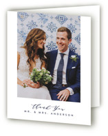 This is a blue wedding thank you card by Joanna Griffin called Paradise with standard printing on strathmore in standard.