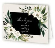 This is a white wedding thank you card by Susan Moyal called Botanical Ring with standard printing on strathmore in standard.