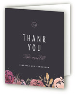 This is a grey wedding thank you card by Bonjour Paper called Midnight Blooms with standard printing on strathmore in standard.