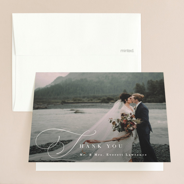"""""""Flowing Initials"""" - Folded Thank You Card in Ivory by Hooray Creative."""