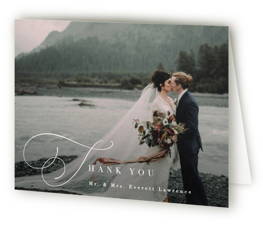 This is a classic and formal, simple and minimalist, white Wedding Thank You Cards by Hooray Creative called Flowing Initials with Standard printing on Standard Cover in Card fold over (blank inside) format. A simple layout with the focus on ...