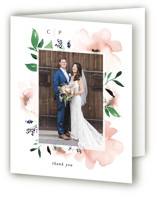 This is a pink wedding thank you card by Leah Bisch called Soft Florals with standard printing on strathmore in standard.