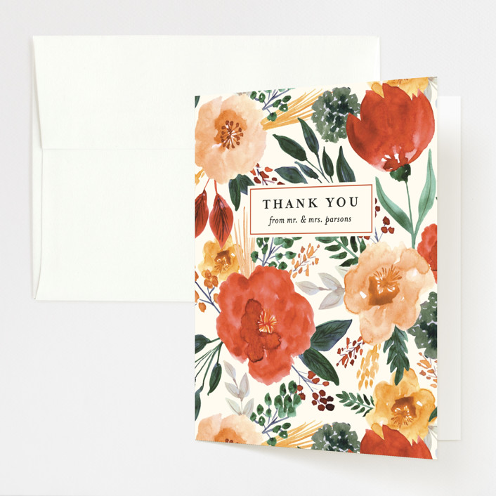 """Flourishing"" - Folded Thank You Card in Bloom by Beth Schneider."