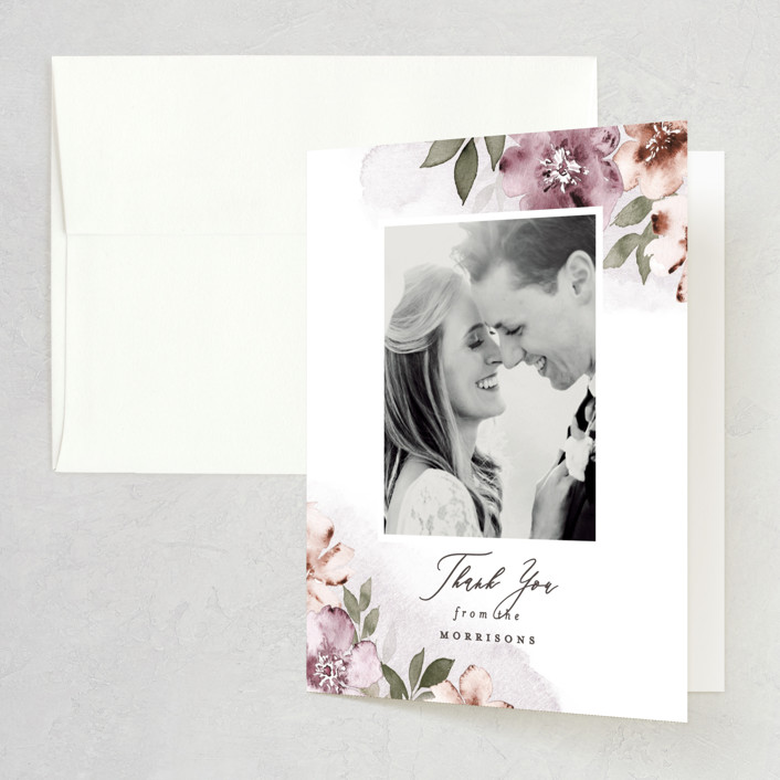 """""""Fancifully"""" - Folded Thank You Card in Dust Mauve by Everett Paper Goods."""