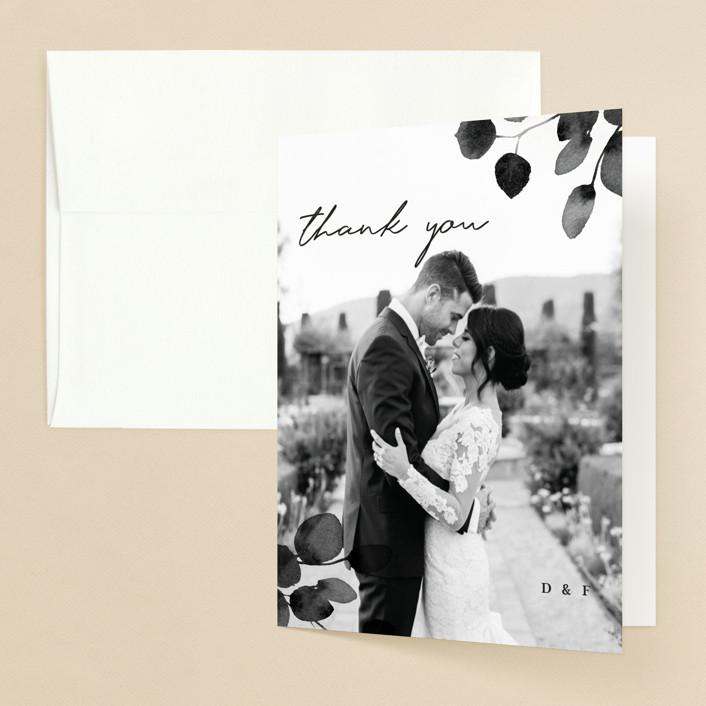 """Silver Dollar Eucalyptus"" - Folded Thank You Card in Ivory by Four Wet Feet Studio."