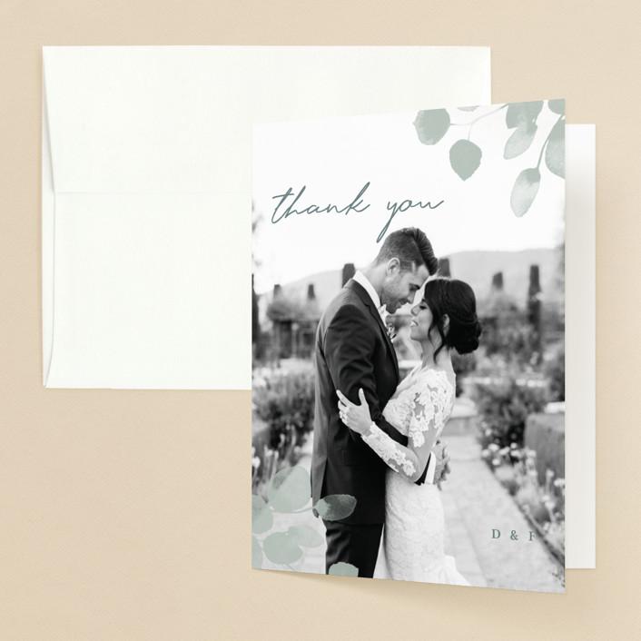 """Silver Dollar Eucalyptus"" - Folded Thank You Card in Silver Dollar by Shannon Chen."