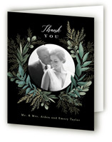 This is a black wedding thank you card by Alethea and Ruth called Forest Crest with standard printing on strathmore in standard.