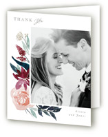 This is a red wedding thank you card by Creo Study called Garden Stroll with standard printing on strathmore in standard.
