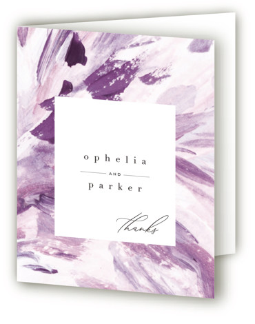This is a painterly, purple Wedding Thank You Cards by Robin Ott called pollen with Standard printing on Standard Cover in Card fold over (blank inside) format. Vibrant brush strokes and bold flower petal abstract