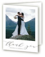 This is a grey wedding thank you card by Amy Ngo called Simplicity with standard printing on strathmore in standard.