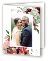 This is a green wedding thank you card by Leah Bisch called Cascading Florals with standard printing on strathmore in standard.