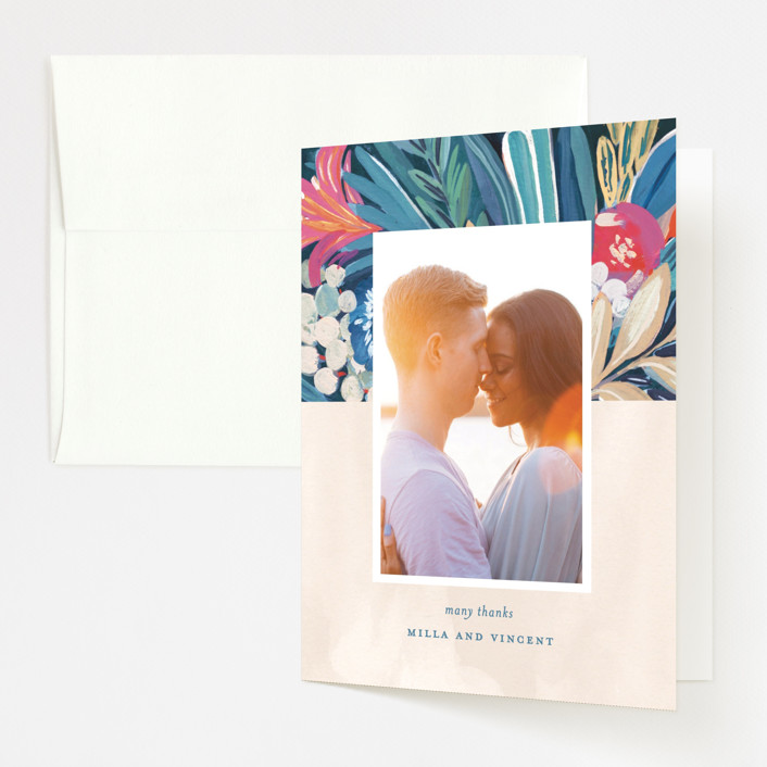 """""""Floral Burst"""" - Folded Thank You Card in Ocean by Morgan Ramberg."""