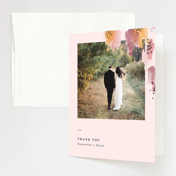"""Mod Brush"" - Modern Folded Thank You Card in Blush by Lisa Fee Paura."