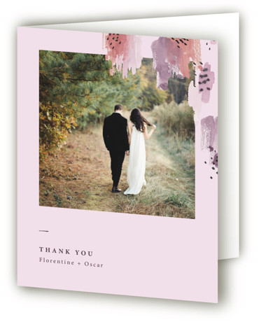 This is a modern, painterly, purple Wedding Thank You Cards by Lisa Fee Paura called Mod Brush with Standard printing on Standard Cover in Card fold over (blank inside) format. Clean and simple typography and playfull aquarelle brushstrokes for a ...
