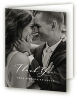 This is a black wedding thank you card by Carly Reed Walker called Eternal with standard printing on strathmore in standard.