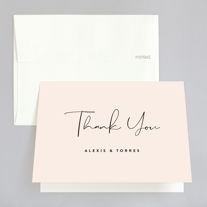 """""""Just the Two of Us"""" - Folded Thank You Card in Blush by Jennifer Wick."""