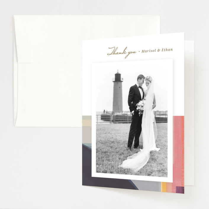 """Edgewater"" - Modern Folded Thank You Card in Sunset by Griffinbell Paper Co.."