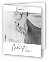 This is a black and white wedding thank you card by Design Lotus called Moxie with standard printing on strathmore in standard.