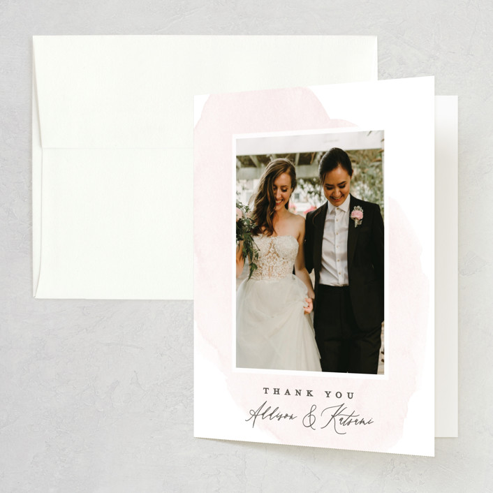 """""""Softly Layered"""" - Folded Thank You Card in Blush by Everett Paper Goods."""