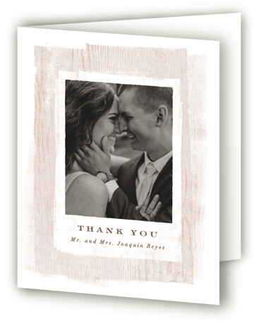 This is a portrait rustic, brown Wedding Thank You Cards by Hooray Creative called Barnwood with Standard printing on Standard Cover in Card fold over (blank inside) format. Wood textures create a modern, yet rustic border around handsome typography. (artwork ...