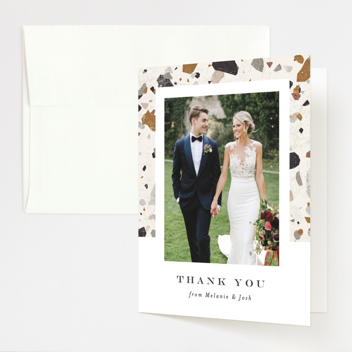 """Terrazzo Frame"" - Modern Folded Thank You Card in Mustard by Amy Payne."