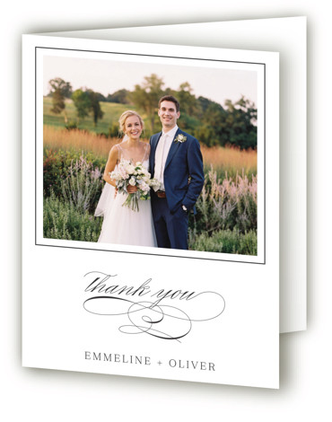 This is a portrait bold and typographic, classic and formal, grey Wedding Thank You Cards by Rebecca Daublin called All About That Type with Standard printing on Standard Cover in Card fold over (blank inside) format. Wedding invitation featuring clean ...