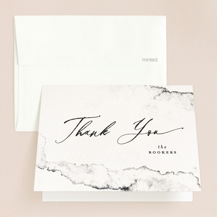 """""""Inky"""" - Modern Folded Thank You Card in Ink by Pink House Press."""